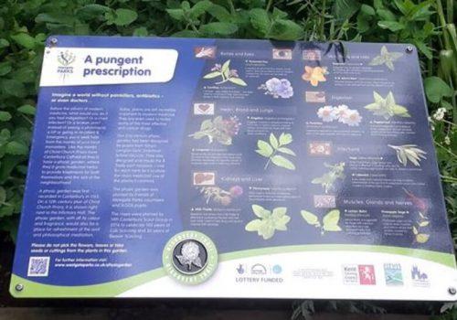 Interpretation panel physic garden