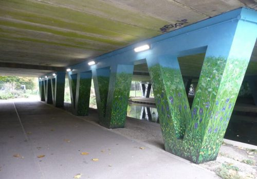 Underpass stanchions after work